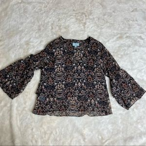 Boho Veronica M Bell Sleeve Floral Top XS